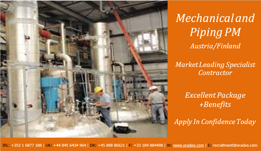 Project Manager |Mechanical and Piping | Oradeo